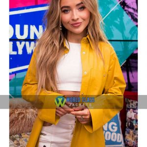 Buy Sabrina Carpenter Yellow Leather Winter Coat at $50 Off