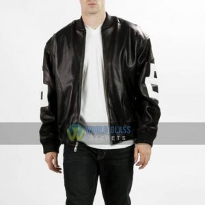 Buy 8 Ball Pool Bomber Black Leather Jacket at $50 Off