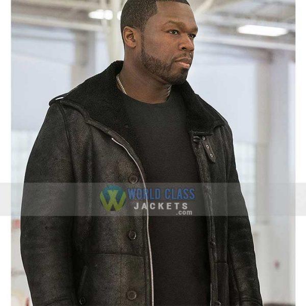 50 Cent Jackson Kanan Black Leather Mens Winter Coat