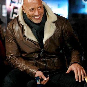 Dwayne Johnson Furious 8 Shearling Leather Jacket For Men