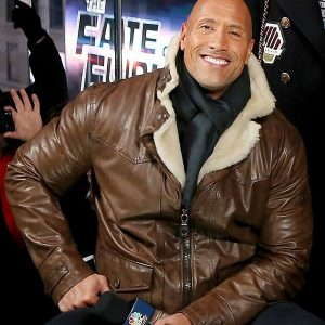 Dwayne Johnson Furious 8 Shearling Brown Leather Jacket