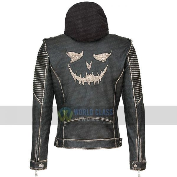 Joker The Killing Jacket Suicide Squad Real Distress Leather With Hood On Sale