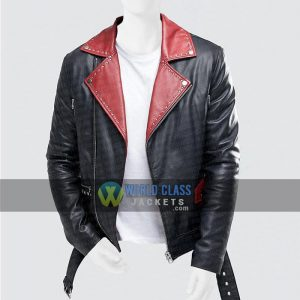 Black And Red Lapel Collar Slim Fit Mens Leather Jacket Sale