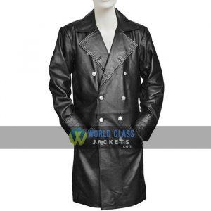 Mens Black Leather German Military WW2 Vintage Winter Coat Online