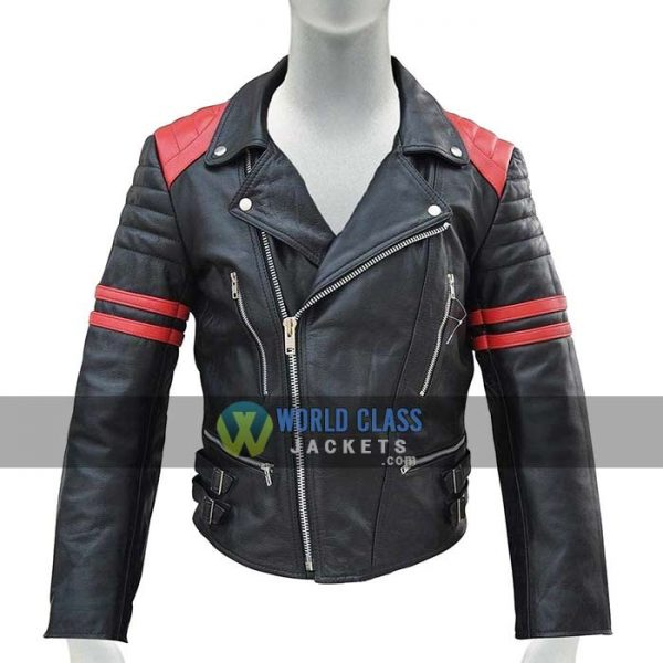 Mens Black Red Slim Fit Genuine Leather Biker Jacket Sale