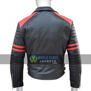 Mens Black Red Slim Fit Genuine Leather Biker Jacket Sale