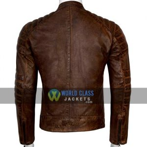Real Leather Cafe Racer Distressed Jacket For Men On Sale
