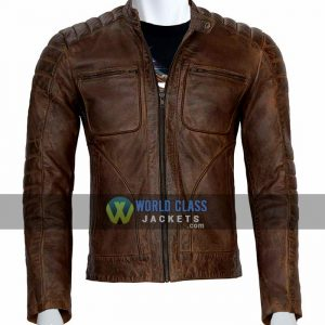 Buy Real Leather Cafe Racer Distressed Jacket For Men