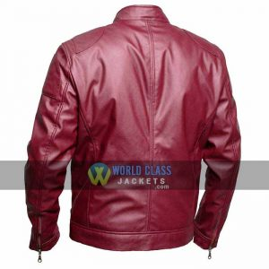 Mens Maroon Real Leather Cafe Racer On Off Price