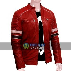 Mens New Style Cafe Racer In Red Real Leather On Sale