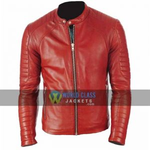 Mens Red Cafe Racer Slim Fit Leather Jacket On Off Price