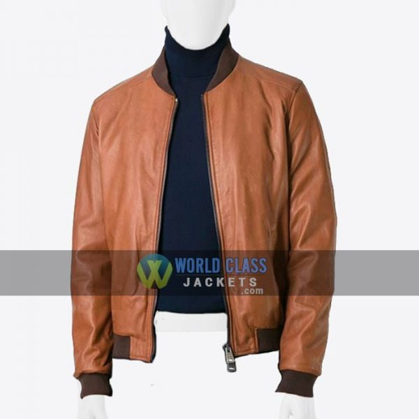 Mens Tan Brown Real Sheepskin Leather Bomber Jacket On Sale